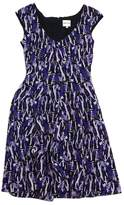 Reiss Purple Abstract Print Silk Cap Sleeve Dress