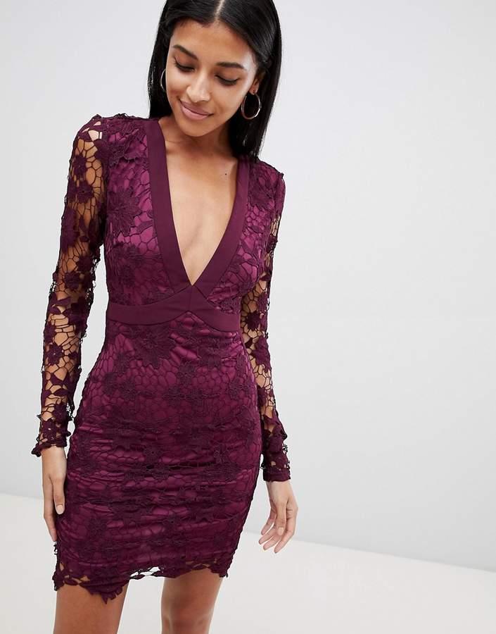 boohoo Lace Open Back Tie Detail Mini Dress