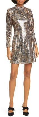 Sea Sequin Leopard Print Long Sleeve Minidress