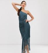 Asos Tall DESIGN Tall cami maxi dress in allover fringe