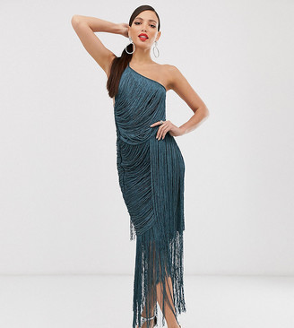 Asos Tall DESIGN Tall cami maxi dress in allover fringe-Blue