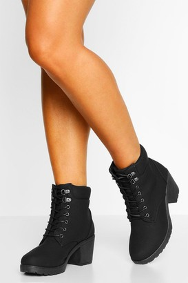 boohoo Wide Fit Lace Up Heeled Hiker Boots