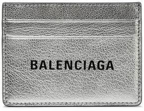 Balenciaga Logo-print Metallic Textured-leather Cardholder