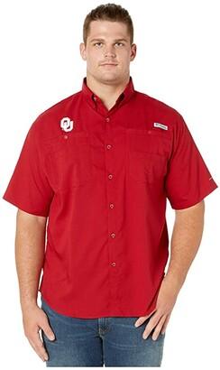 Columbia College Big Tall Oklahoma Sooners Collegiate Tamiamitm II Short Sleeve Shirt (Red Velvet) Men's Short Sleeve Button Up