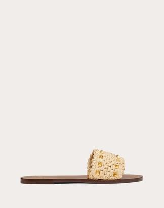 Valentino Rockstud Flair Raffia Flat Slide Sandal Women Multicolored Viscose 100% 36