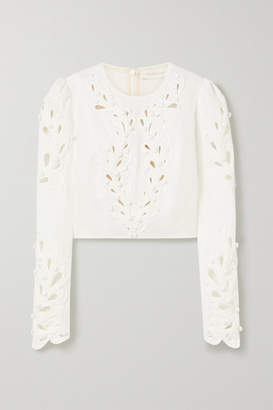 Zimmermann Brightside Rouleaux Cropped Cutout Linen Top - Ivory