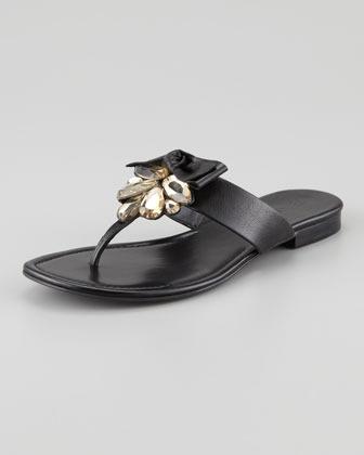 Vera Wang Jeweled & Bow Thong Sandal, Black