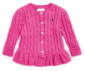 Polo Ralph Lauren Ralph Lauren Baby Girls Peplum Cable Cotton Cardigan