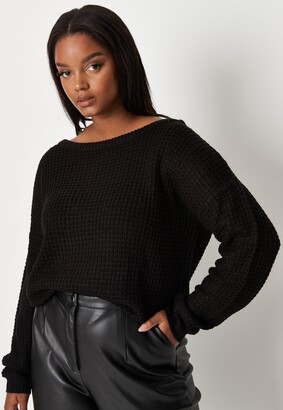 Missguided Plus Size Black Waffle Knit Off The Shoulder Jumper