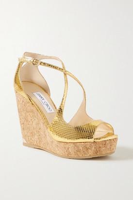 Jimmy Choo Dakota 100 Metallic Lizard-effect Leather Wedge Sandals - Gold