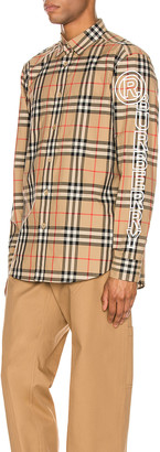 Burberry Camerson Long Sleeve Shirt in Archive Beige IP Check | FWRD