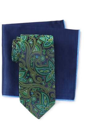 Ted Baker Silk Contrast Paisley Tie & Pocket Square Set