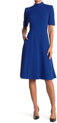 Donna Morgan Mock Neck Elbow Length Fit & Flare Dress