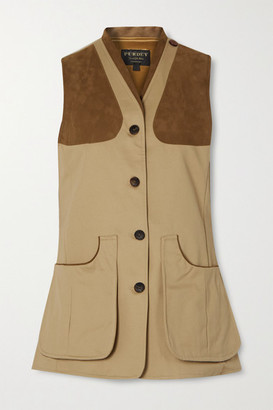 Purdey - Faux Suede-trimmed Cotton-drill Vest - Beige