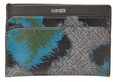 Kenzo Animal Print Logo Leather Zip Wallet