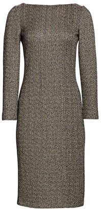 St. John Golden Evening Shimmer Knit Midi Dress