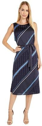 Vince Camuto Sleeveless Geo Mood Diagonal Belted Dress (Night Navy) Women's Clothing