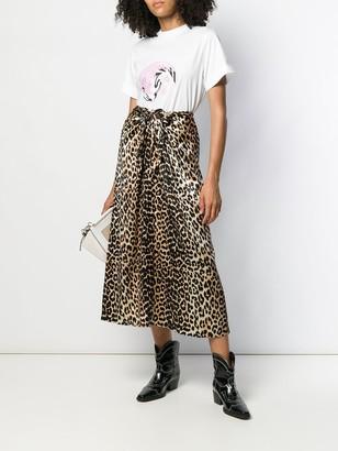 Ganni Leopard Print Tie Midi Skirt
