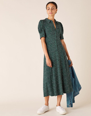 Monsoon Ditsy Floral Jersey Shirt Dress Green