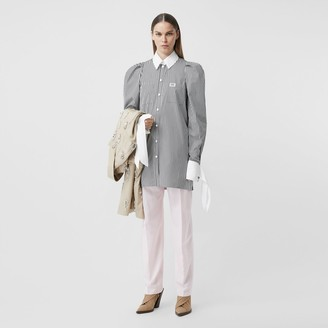 Burberry Logo Applique Striped Cotton Poplin Shirt Dress