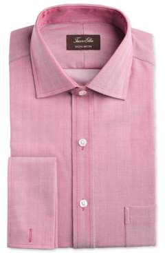 Tasso Elba Men's Slim-Fit Non-Iron Supima Small Herringbone French Cuff Dress Shirt, Created for Macy's