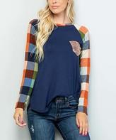 Celeste Women's Tee Shirts NAVY/SEQ - Navy & Orange Plaid Sequin-Pocket Raglan Tee - Women & Plus