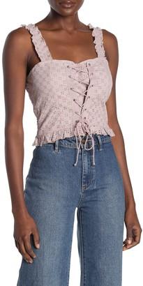 Cotton On Paris Lace-Up Eyelet Top