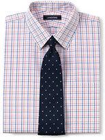 Lands' End Men's Pattern No Iron Supima Pinpoint Straight Collar-White/Admiral Blue Stripe