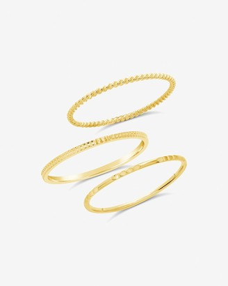Express Sterling Forever 14K Gold Vermeil Simple Stacking Ring Set Of 3