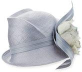 Philip Treacy Script Crown Short-Brim Hat, Medium Blue