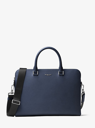 Michael Kors Harrison Leather Briefcase - Navy