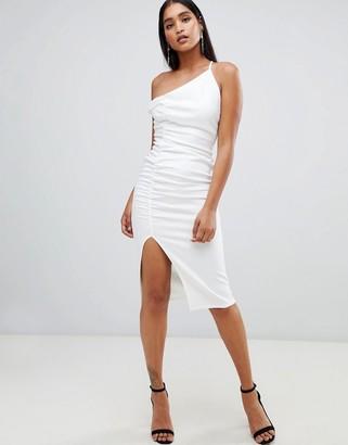 Asos Design DESIGN one shoulder ruched bodycon midi dress-Black
