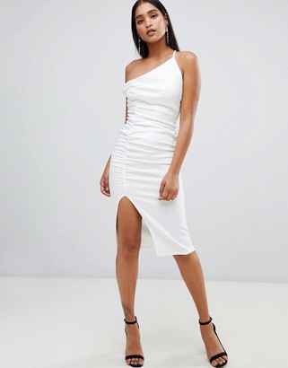 Asos DESIGN one shoulder ruched bodycon midi dress