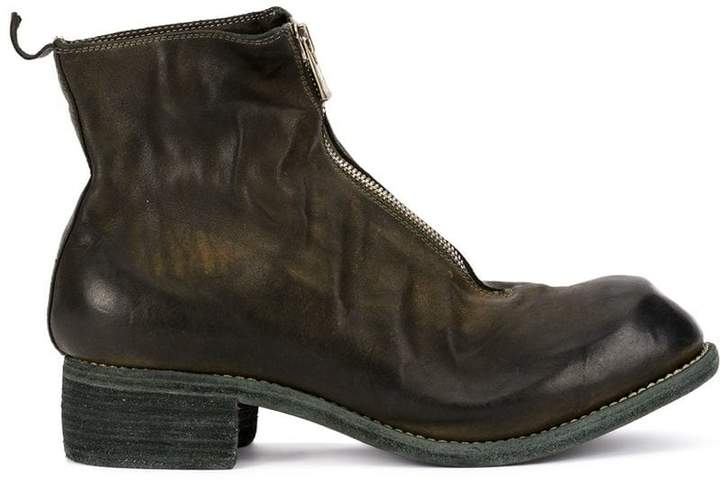 Guidi zip-up distressed boots