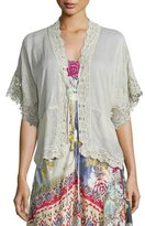 Johnny Was Reedy Lace-Trim Wrap Jacket, Gray Whisper, Plus Size