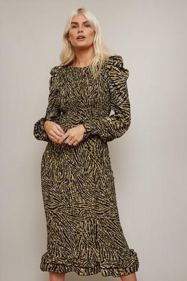 Little Mistress Momentum Animal-Print Gold Foil Plisse Midi Dress