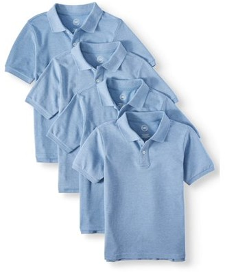 Wonder Nation Boys School Uniform Short Sleeve Pique Polo Shirts, 4-Pack Value Bundle, Sizes 4-18