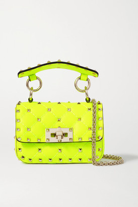 Valentino Rockstud Spike Micro Quilted Neon Leather Shoulder Bag