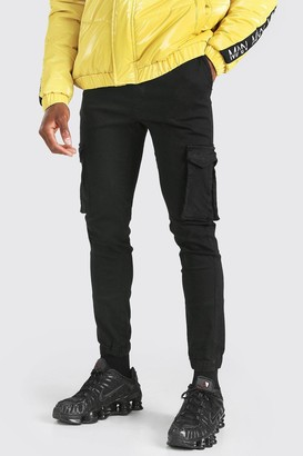boohoo Mens Black Elastic Waist Slim Fit Cargo Trouser With Cuffs, Black