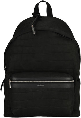 Saint Laurent Embossed Crocodile City Back Pack
