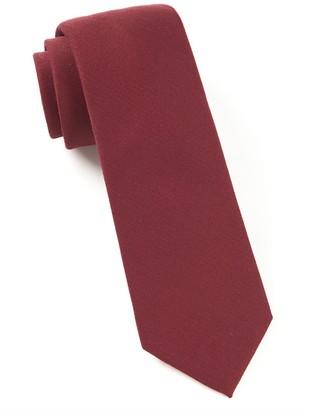 Tie Bar Solid Wool Burgundy Tie