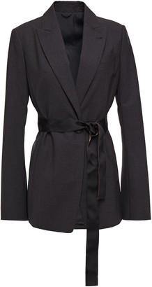 Brunello Cucinelli Belted Bead-embellished Wool-blend Blazer