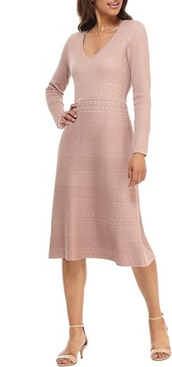 Gal Meets Glam Heidi Mixed Stitch Long Sleeve Sweater Dress