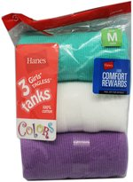 Hanes Assorted 3 Pack Girls Colored Tanks (Size Medium)