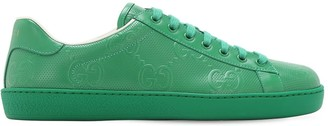 Gucci New Ace Gg Embossed Leather Sneakers