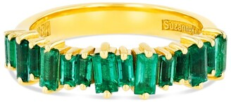 Suzanne Kalan Yellow Gold and Emerald Fireworks Half-Band Eternity Ring (Size 6)