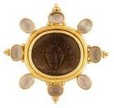 Elizabeth Locke 18K Smoky Quartz & Venetian Glass Brooch Pendant