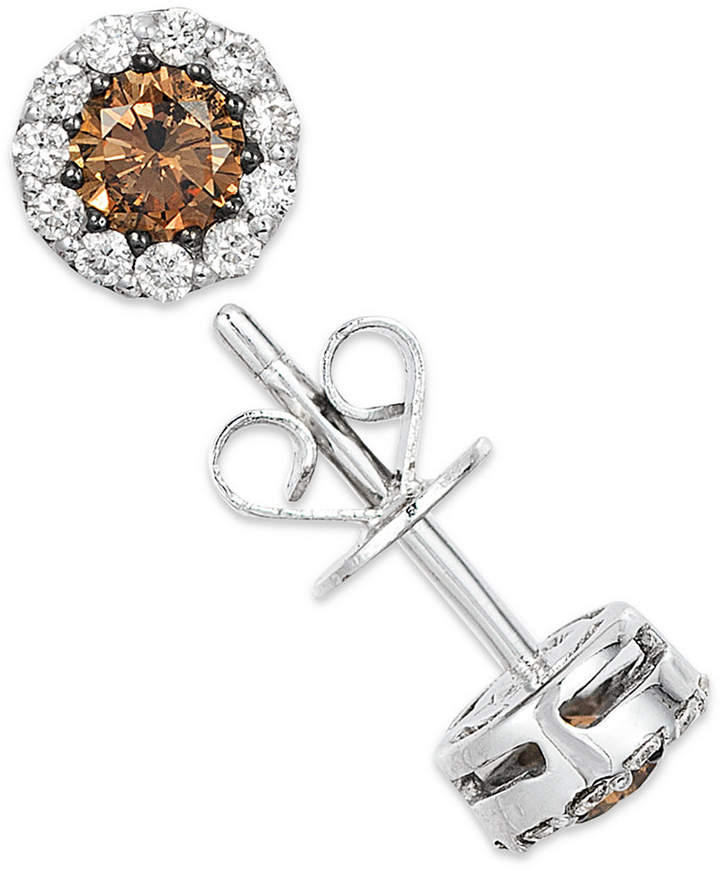 LeVian Le Vian White and Chocolate Diamond Stud Earrings in 14k White Gold (1/2 ct. t.w.)