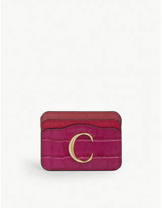 Chloé Reptile-effect leather card holder