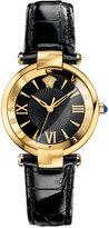 Versace Women's Swiss Reve Black Leather Strap Watch 35mm VAI020016